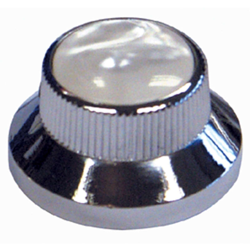 Guitar Tech Bell Knobs  GT843 Chrome/White Pearl Top.  Pkt of 2