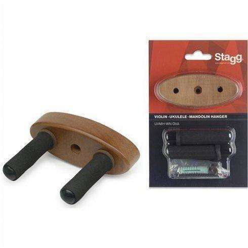 Stagg Wall-mounted holder w/ oval wooden base for Ukuleles, Mandolins and Violins