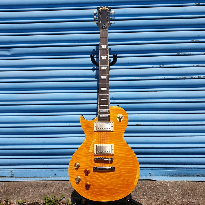 Vintage - ICON Series Les Paul Style Electric Guitar Distressed (Left-Handed)