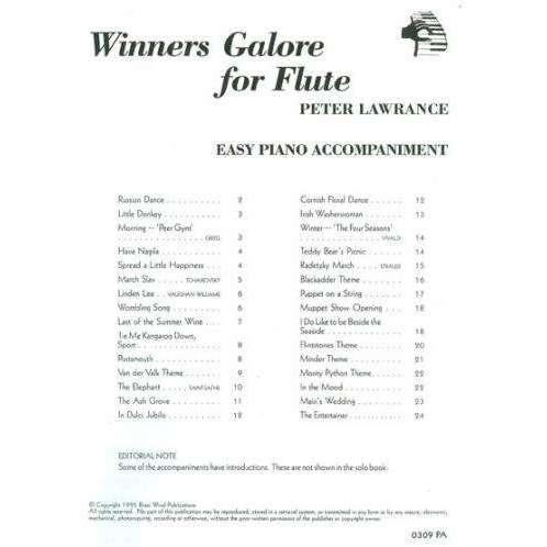 Winners Galore For Flute - Peter Lawrance - Easy Piano Accompaniment