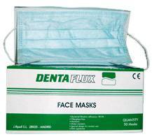material dental desechable mascarillas DENTAFLUX, mascarillas planas c/gomas verdes