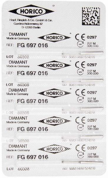 fresas dentales HORICO, 697-016 fg diamante fig.801l 5u