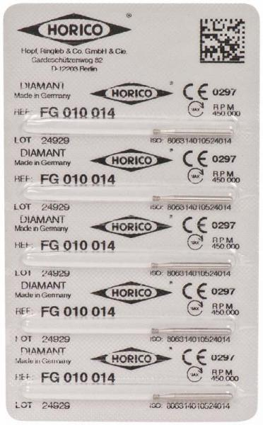 fresas dentales HORICO, 010-014 fg diamante fig.805 5u