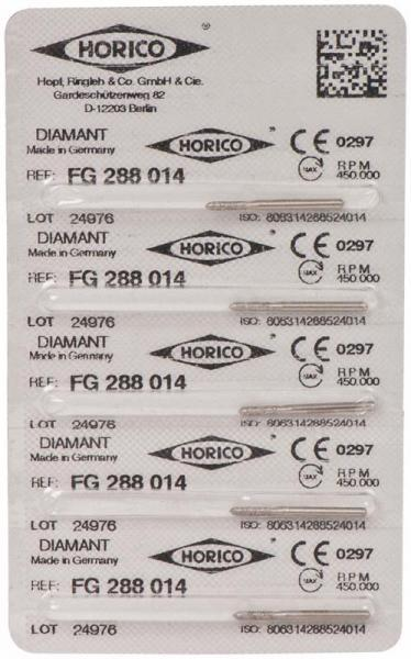 fresas dentales HORICO, 288-014 fg diamante fig.877 5u