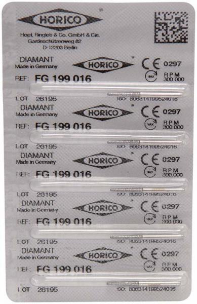 fresas dentales HORICO, 199-016 fg diamante fig.850 5u