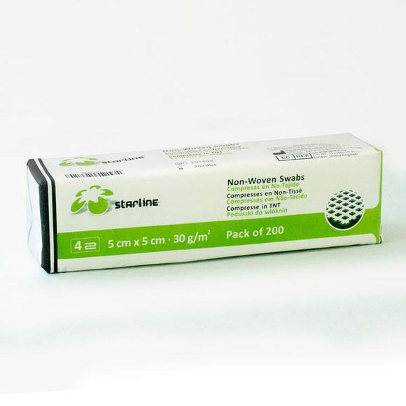 material dental desechable algodón STARLINE, gasas 5x5cm. no esteril 30g/m2 200u.