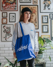 Load image into Gallery viewer, alter trobbies skateboard co totebag tote bag skateboards company blue on-body