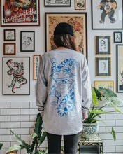 Load image into Gallery viewer, alter trobbies long sleeve longsleeve grey skateboard co skateboards company back on-body