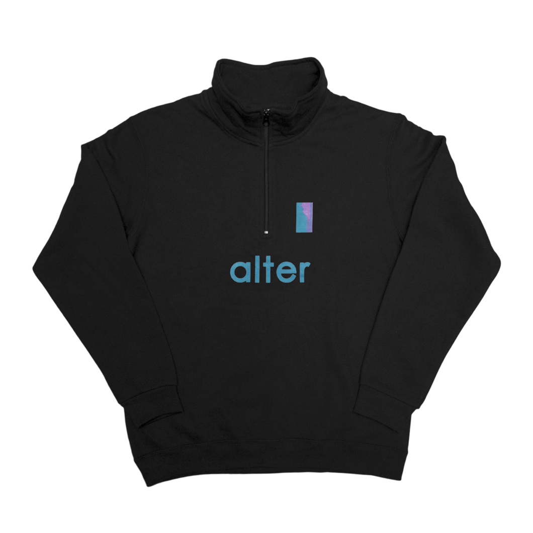 alter skateboard co company quarter zip sweater black