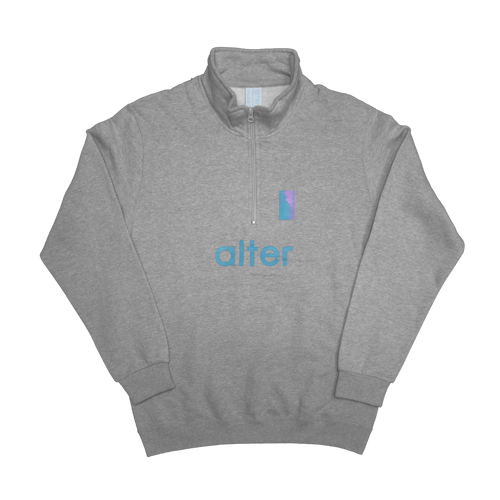 alter skateboard co company quarter zip sweater grey