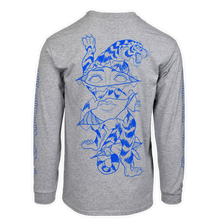 Load image into Gallery viewer, alter trobbies long sleeve longsleeve grey blue print skateboard co skateboards company back