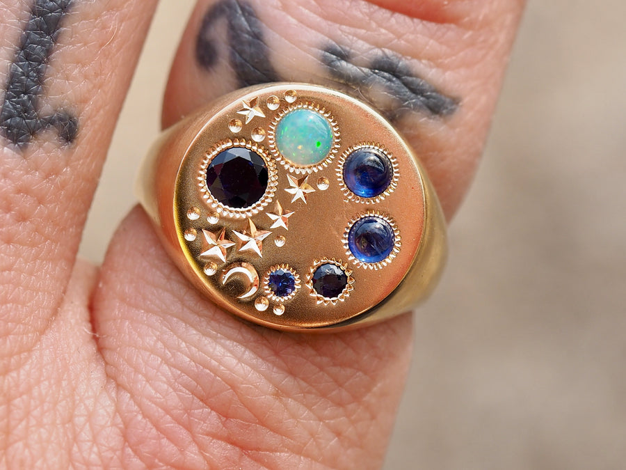 Radial Signet Ring | Blue | OOAK
