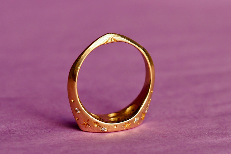 14k Celestial Pinky Ring | Marquise