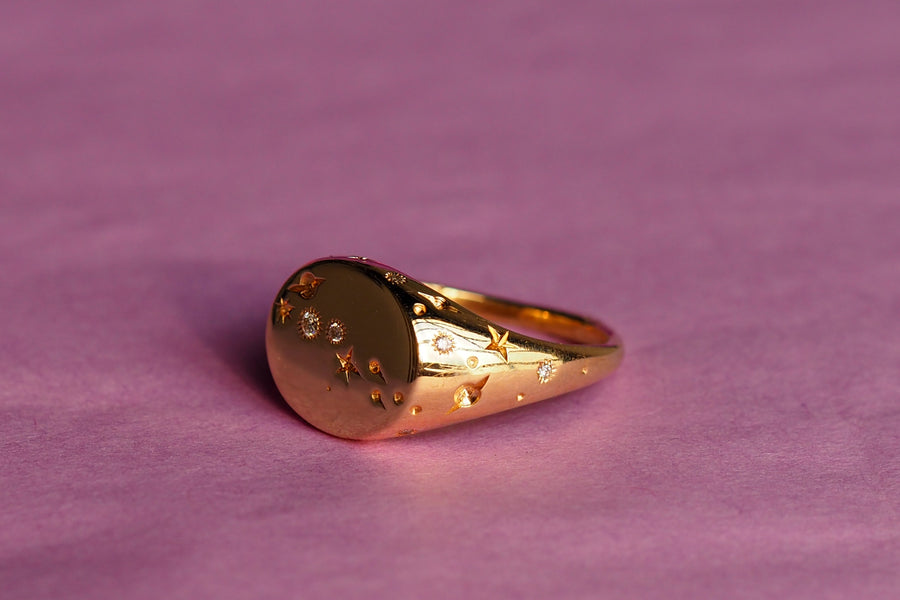 14k Celestial Pinky Ring | Round