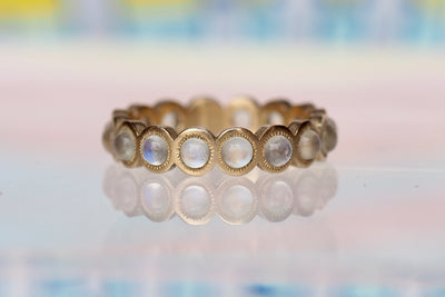 3mm Moonstone Eyelash Eternity Band