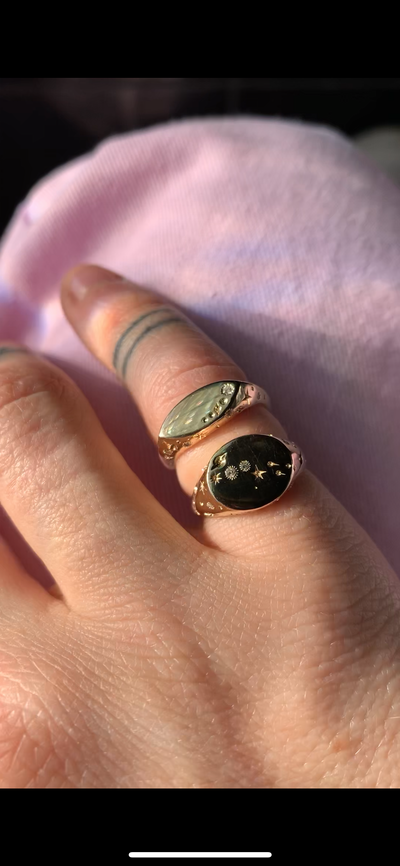 14k Celestial Pinky Ring | Marquis