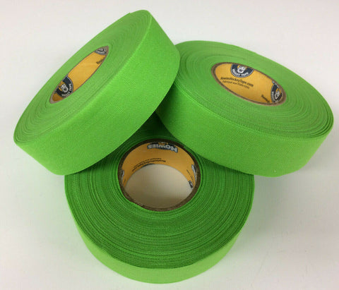 "Neon Lime Green Hockey Tape - 1"" x 27 Yards - 3 Rolls - Howies Hockey Tape Grip"