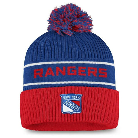 2021 New York Rangers Fanatics NHL Locker Room Pom Cuff Knit Hat Stocking Cap
