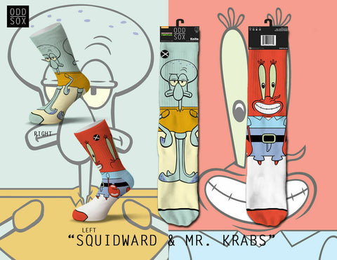 Odd Sox Nick SpongeBob Squidward & Mr. Krabs Cartoon Socks Mens 6-13 Nickelodeon