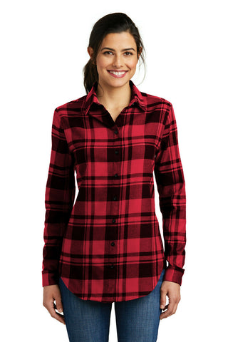 Port Authority Ladies Plaid Flannel Tunic Women's Button Down Long Sleeve Shirt