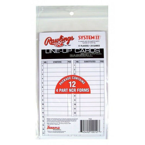 Rawlings Baseball / Softball Line Up Cards Baseball or Softball Line Up Cards