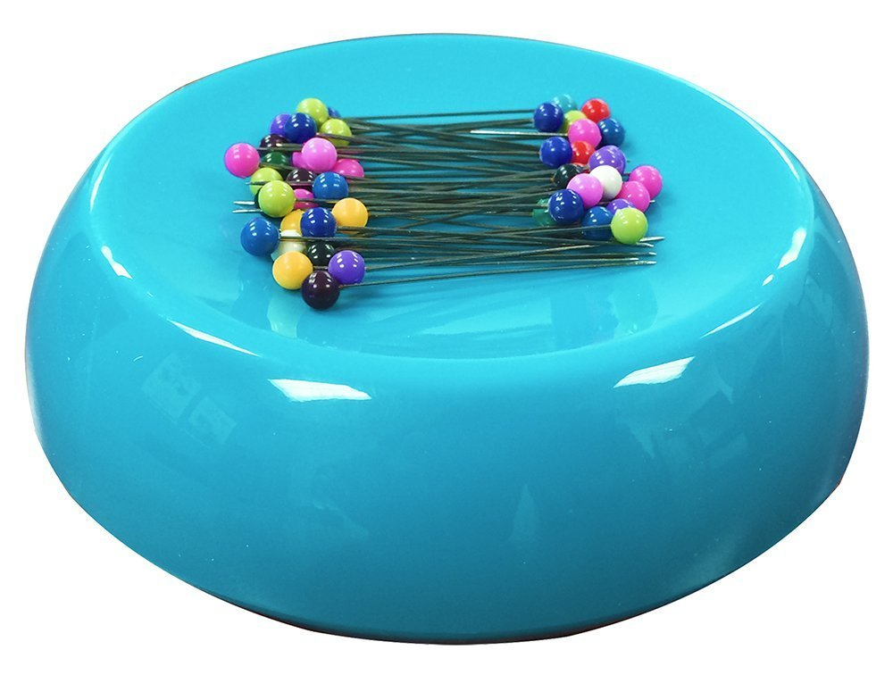 Grabbit Magnetic Sewing Pincushion with 50 Plastic Head Pins, Teal