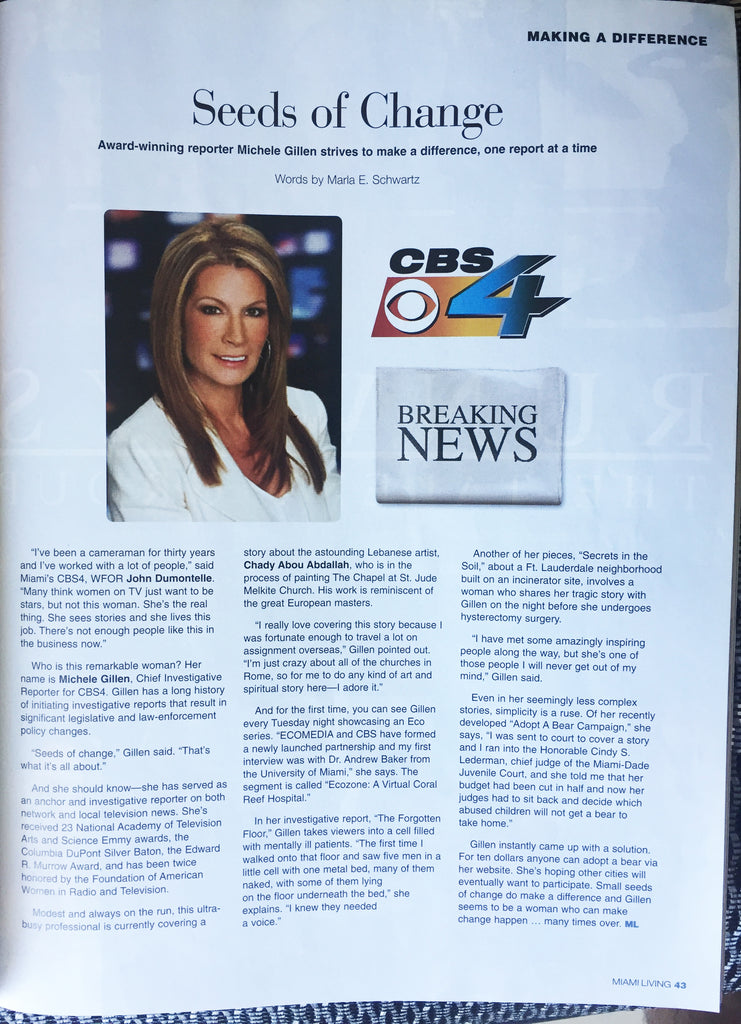 Miami Living Magazine - About Chady's work by Michele Gilen CBS4 News