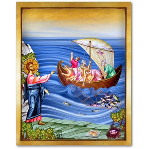 Miraculous Catch of Fish - Jesus and the Apostles - 8x10 in - Chady Elias