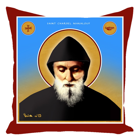 Saint Charbel - Throw Pillows - CottonTwill - 16x16 - Zippered - Chady Elias
