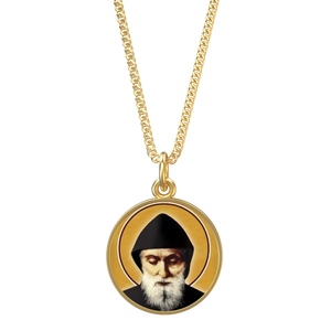 Saint Charbel - Indigo Coin Chain in Gold - Chady Elias