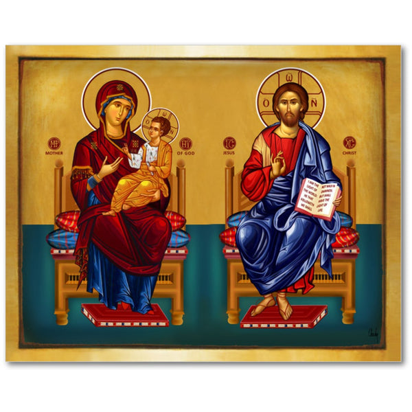 Jesus Christ and the Virgin Mary on the Throne - 8x10 in - Chady Elias