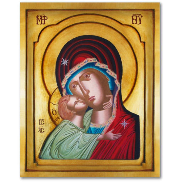 The Mother of God Icon - Virgin and Child Icon - Madona and Child Icon - Jesus and Mary Icon - Our Lady of Tenderness Icon - Sweet Kissing Icon - Theotokos Icon - Icon of the Glykophilousa - Christ and Theotokos Icon -  Panagia Glykophilousa Icon.