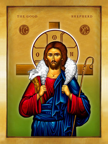 Jesus Christ The Good Shepherd Byzantine Icon - Stretched canvas 12x16 - Chady Elias