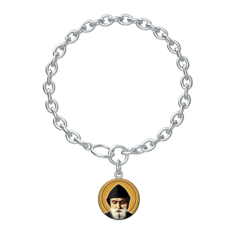 Saint Charbel - Lotus Coin Bracelet in Silver - Chady Elias