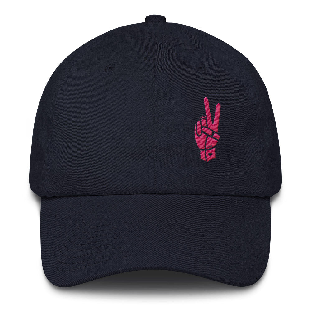 Royal Peace Pink on Navy Cotton Cap - Chady Elias