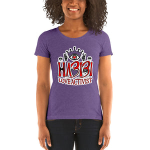 Habibi Love Activist Ladies' short sleeve purple t-shirt - Chady Elias