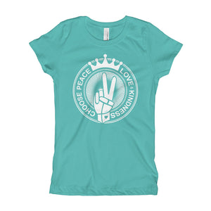 Choose Peace Love and Kindness Short-Sleeve Tahiti Blue Girl's T-Shirt - Chady Elias