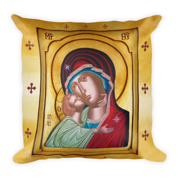 "Our Lady of Tenderness - The Sweet Kissing - Square Pillow - 18""x18"" - Chady Elias"