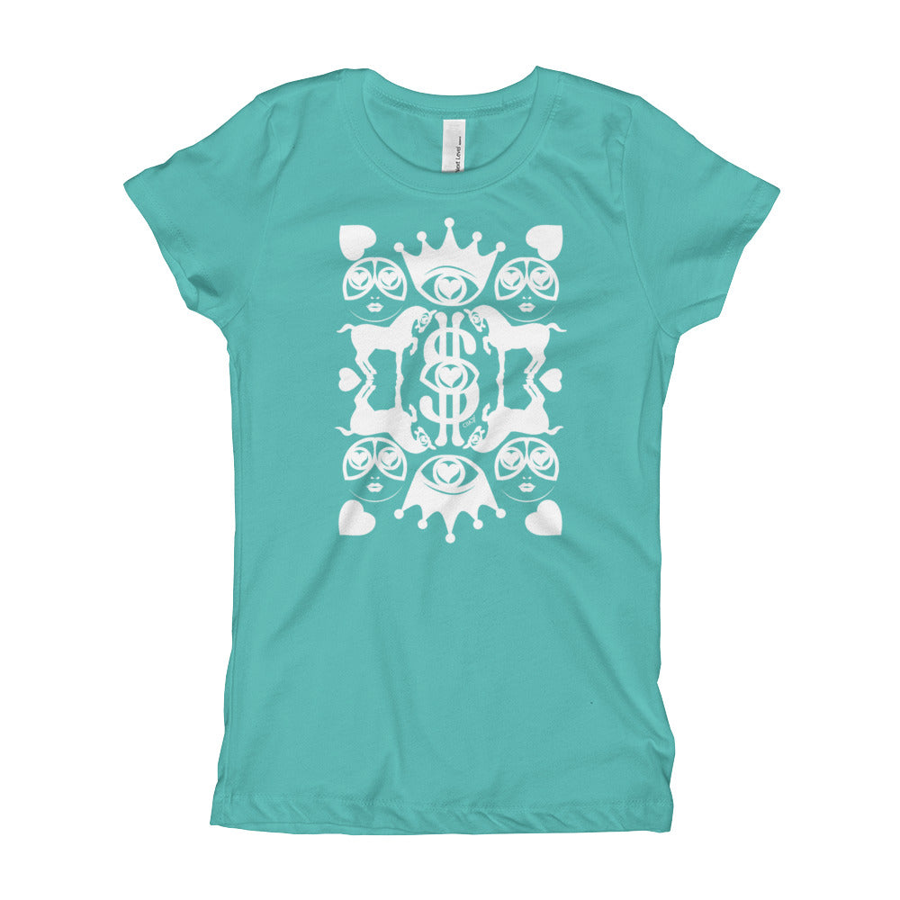 Majestic Harmony White Print on Girl's Tahiti Blue T-Shirt - Chady Elias