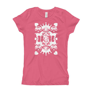 Majestic Harmony White Print on Girl's Hot Pink T-Shirt - Chady Elias
