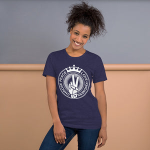 Choose Peace Love and Kindness Short-Sleeve Navy Heather Ladies T-Shirt - Chady Elias