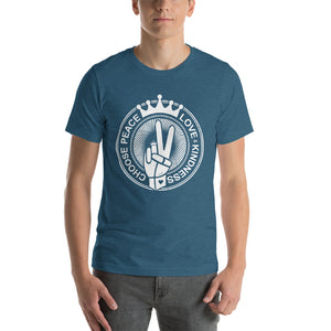 Choose Peace Love and Kindness Short-Sleeve Heather deep teal Men T-Shirt - Chady Elias