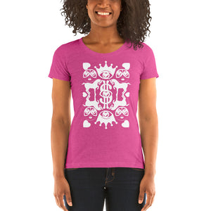 Majestic Harmony | White on Pink | Ladies' short sleeve t-shirt - Chady Elias