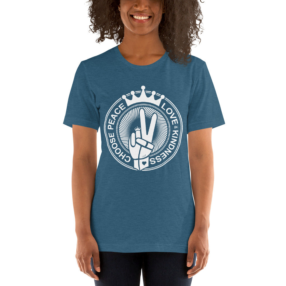Choose Peace Love and Kindness Short-Sleeve Heather Deep Teal Ladies T-Shirt - Chady Elias