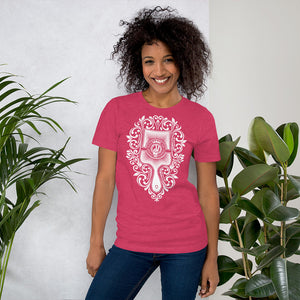 Brush - Choose Peace Love and Kindness Short-Sleeve Heather Rasberry Ladies T-Shirt - Chady Elias