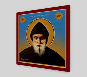"Saint Charbel - Print on Wooden panel  - 24"" x 24"" - Chady Elias"
