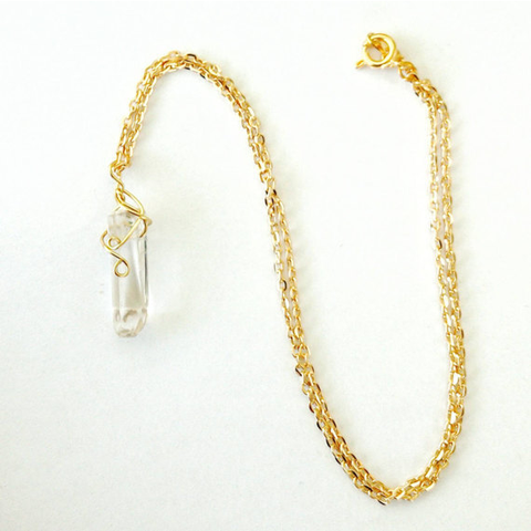 Quartz Point Necklace- Gold