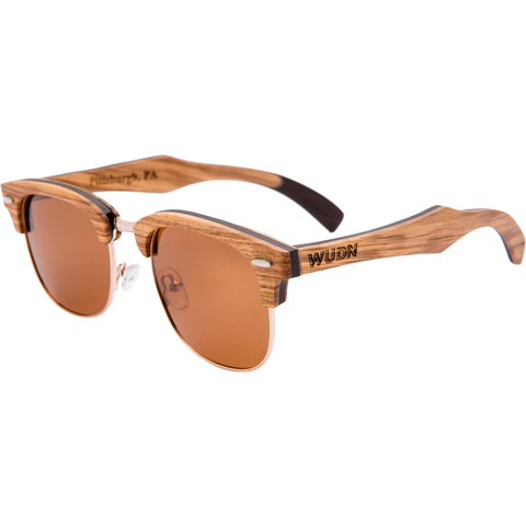 Men's & Women's Brown Handcrafted Vintage Wood Clubmaster Sunglasses - Brown Polarized Lenses