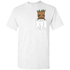 Baby Groot Pocket Tee White Unisex