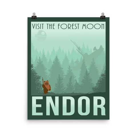 Star Wars Forest Moon of Endor Retro Print